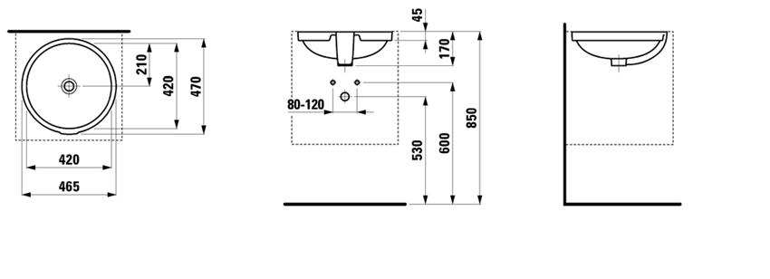 Umywalka podblatowa 46,5 cm Laufen Pro rysunek