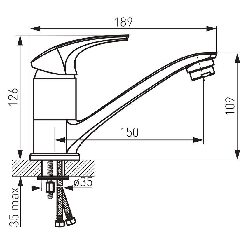 Bateria umywalkowa/zlewozmywakowa stojąca Ferro Metalia rysunek techniczny
