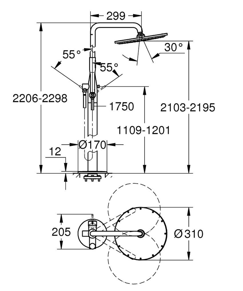 Wolnostojący system prysznicowy chrom Grohe Essence rysunek techniczny