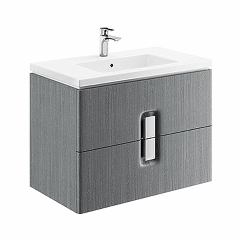 Szafka pod umywalkę 2 szuflady 80x57x46 cm szara Koło Twins