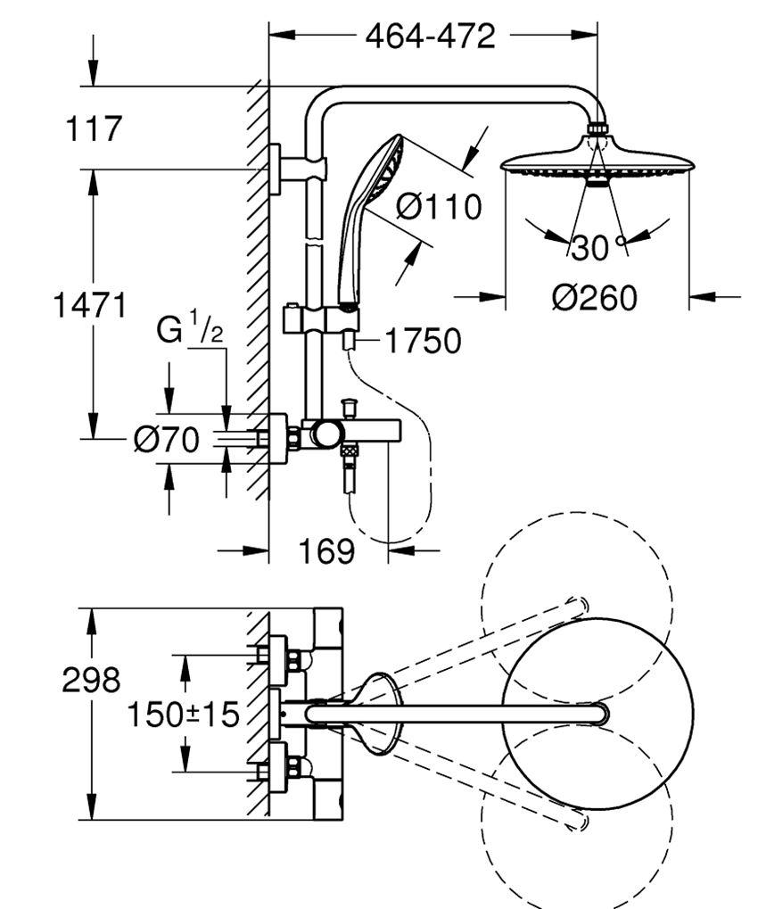 System wannowo-prysznicowy z termostatem do montażu ściennego Grohe Euphoria System 260 rysunek