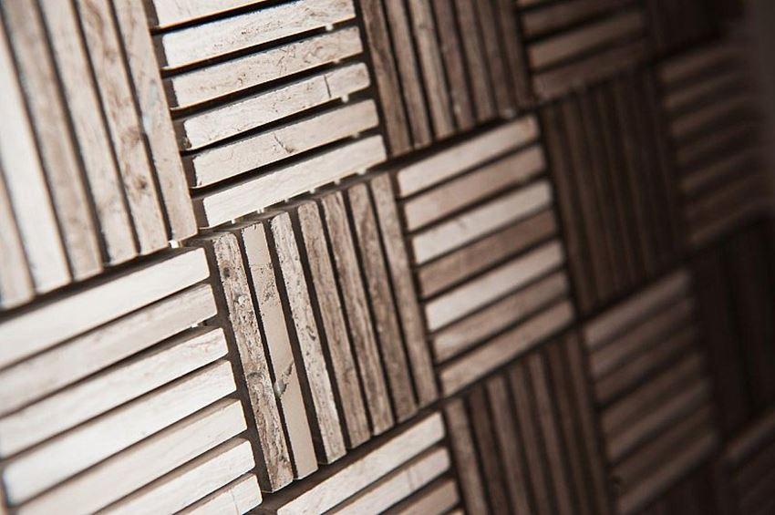 Wygląd mozaiki Woodstone Grey Tatami 48