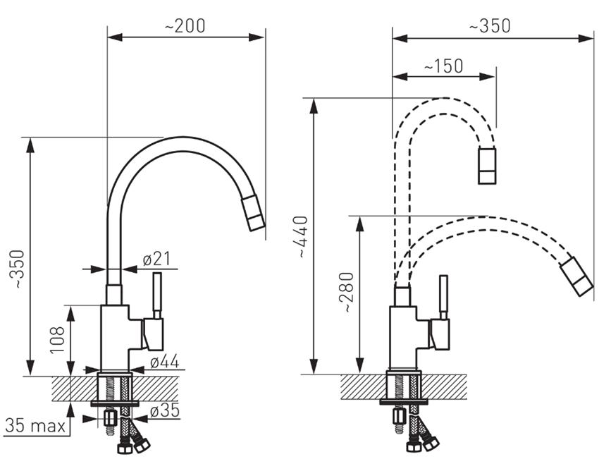 Jednouchwytowa bateria kuchenna z elastyczną wylewką FDesign Notio rysunek