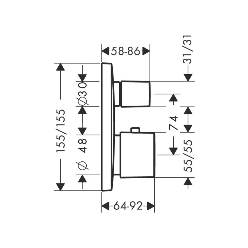 Bateria termostatyczna element zewnętrzny Hansgrohe PuraVida rysunek techniczny