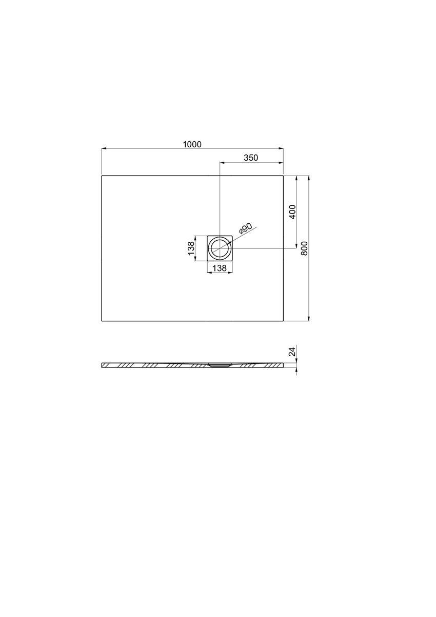 Brodzik kompozytowy 100x80x2,4 cm Roca Ignis rysunek techniczny