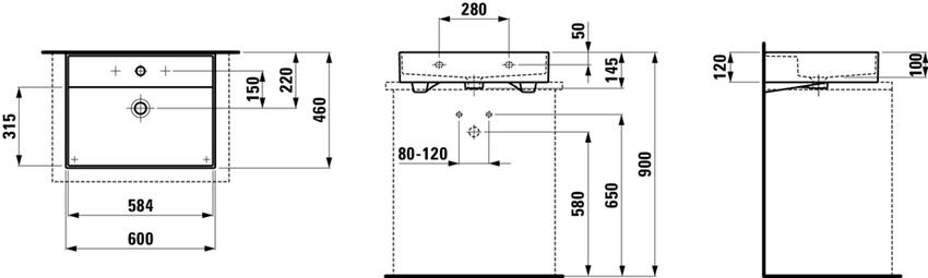 Umywalka ścienna/nablatowa 60 cm Laufen Kartell rysunek techniczny