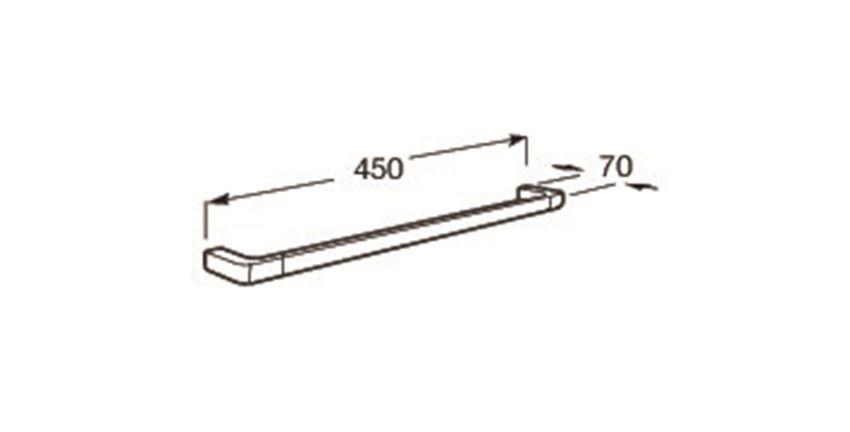 Wieszak jednoramienny ścienny 45x7 cm Roca Tempo rysunek techniczny