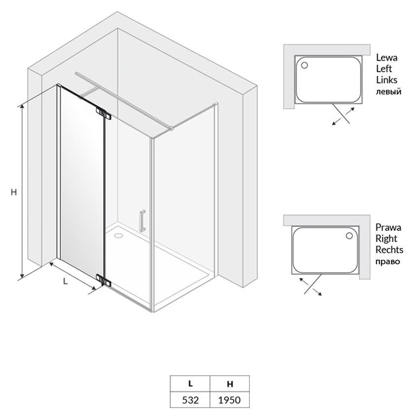 Drzwi wnękowe uchylne lewe ze ścianką wenecką Excellent Colors rysunek techniczny
