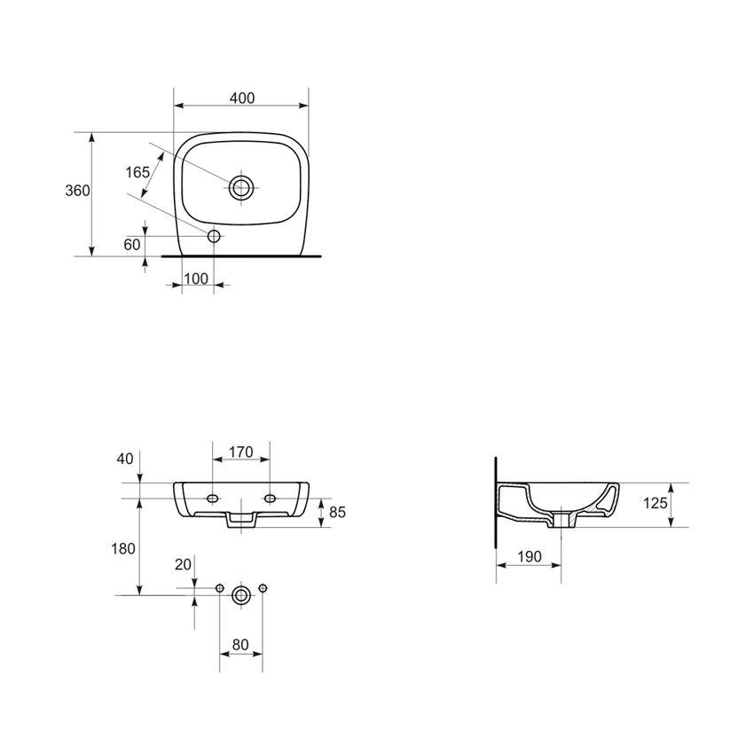 Umywalka meblowa 40 prawa Cersanit Facile rysunek techniczny