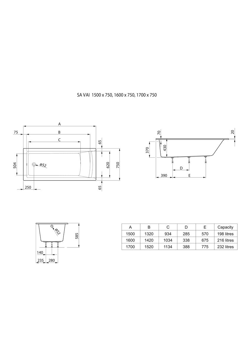 Prostokątna wanna akrylowa SLIM RIM 170x75 cm Roca Savai rysunek