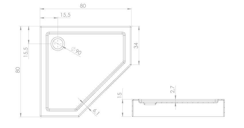 Brodzik pięciokątny 80x80x15 cm New Trendy New Azura rysunek techniczny