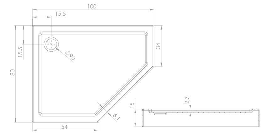 Brodzik pięciokątny 100x80x15 cm New Trendy New Azura rysunek techniczny