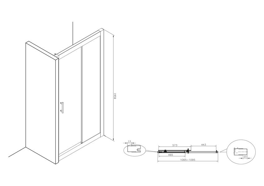 Drzwi do wnęki prysznicowej 110x195 cm Roca town rysunek techniczny