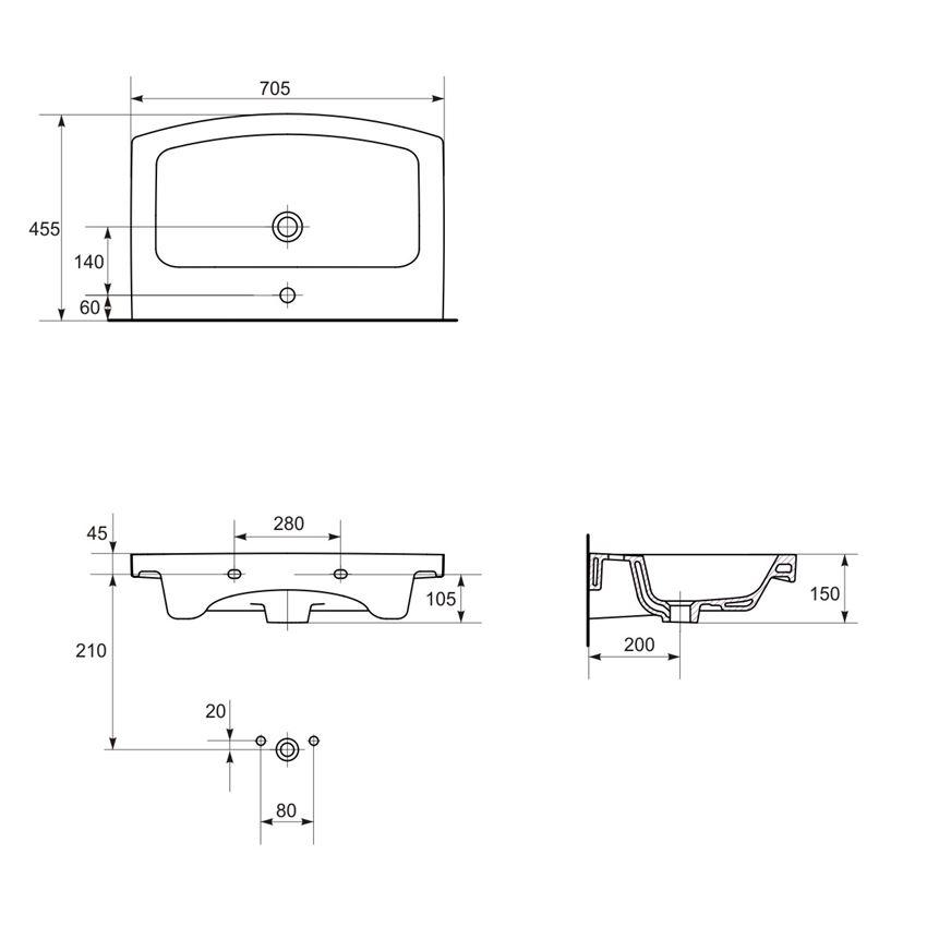 Umywalka meblowa 70 Cersanit Easy rysunek techniczny