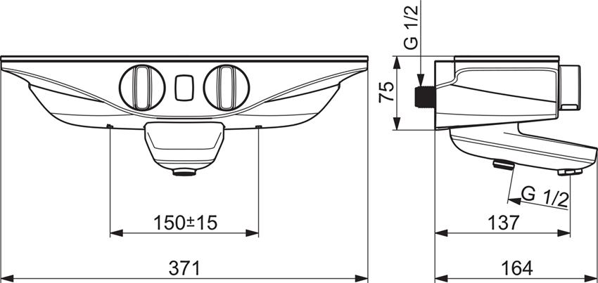 Termostatyczna bateria wannowo-natryskowa z programem odnowy ciała Wellfi Oras Esteta Wellfit rysunek