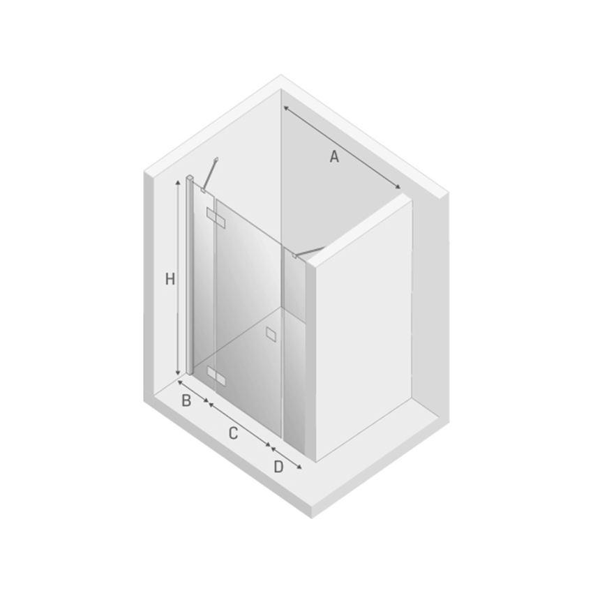 Drzwi prysznicowe wnękowe New Trendy Modena Plus rysunek techniczny