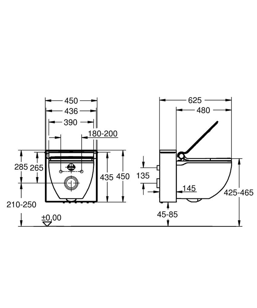 Toaleta myjąca do montażu z podtynkowym systemem spłukującym Grohe Sensia IGS rysunek techniczny