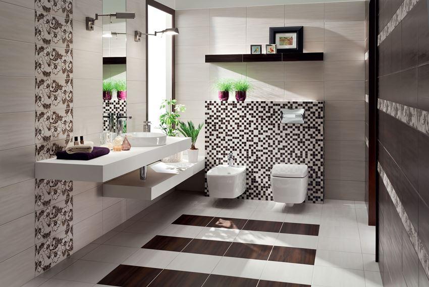 Kremowa łazienka z brązowymi akcentami Domino Aceria