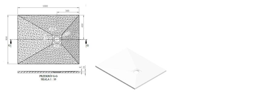 Brodzik prostokątny 100x80 cm IÖ Sten rysunek