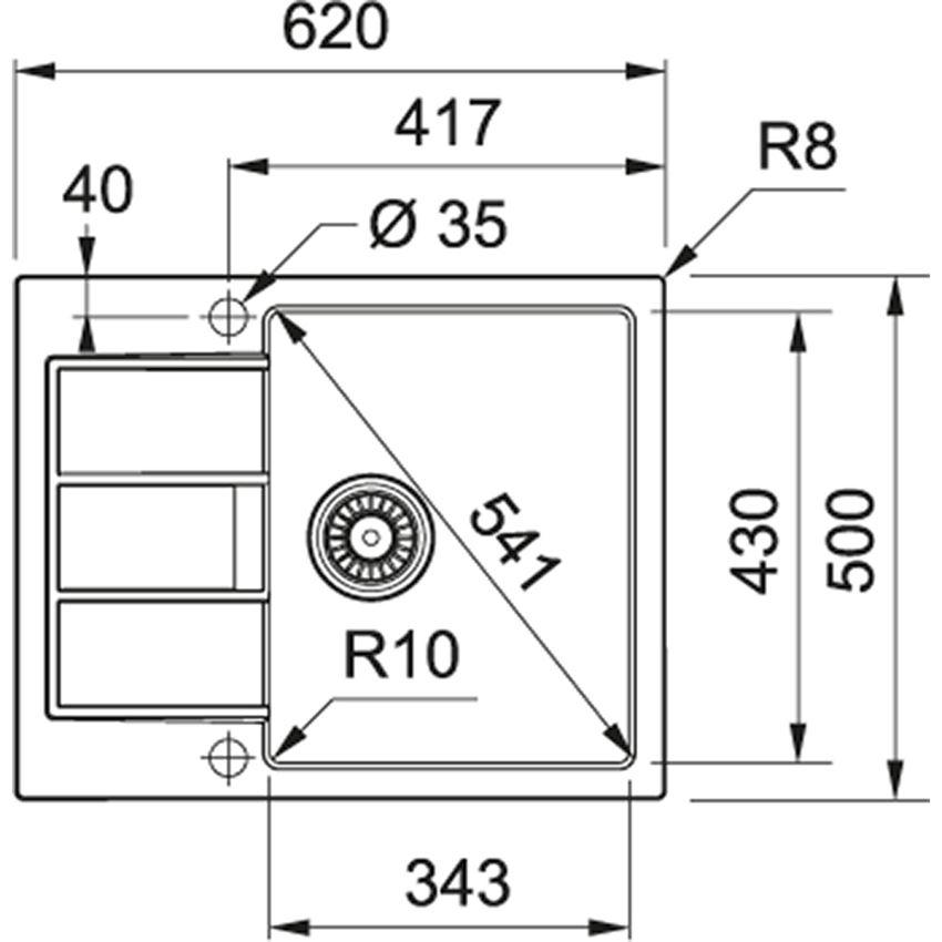 Zlewozmywak 1-komorowy z ociekaczem Franke Sirius SID 611-62 rysunek techniczny