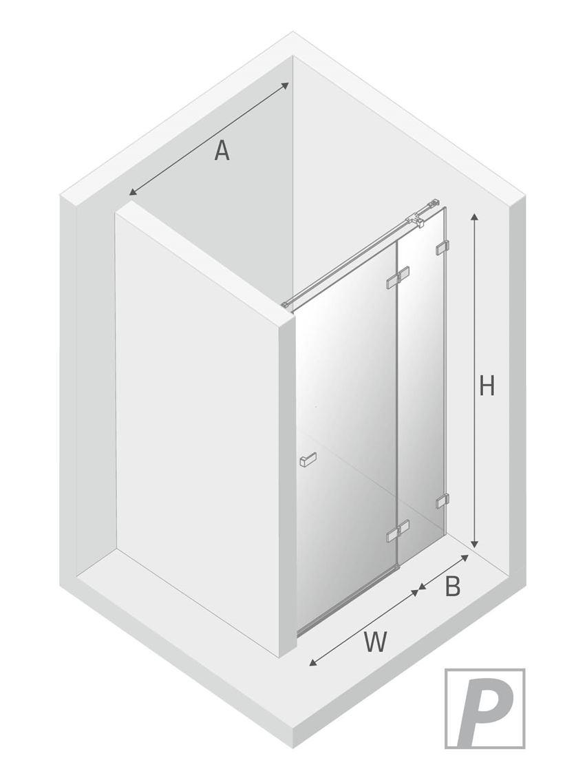 Drzwi prysznicowe prawe uchylne New Trendy Avexa Black rysunek