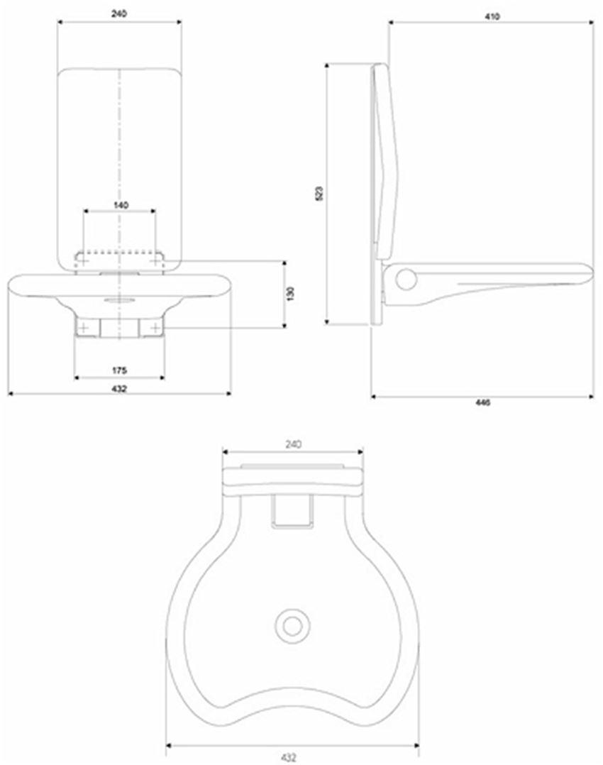 Siedzisko prysznicowe uchylne z oparciem Koło Lehnen Evolution rysunek techniczny