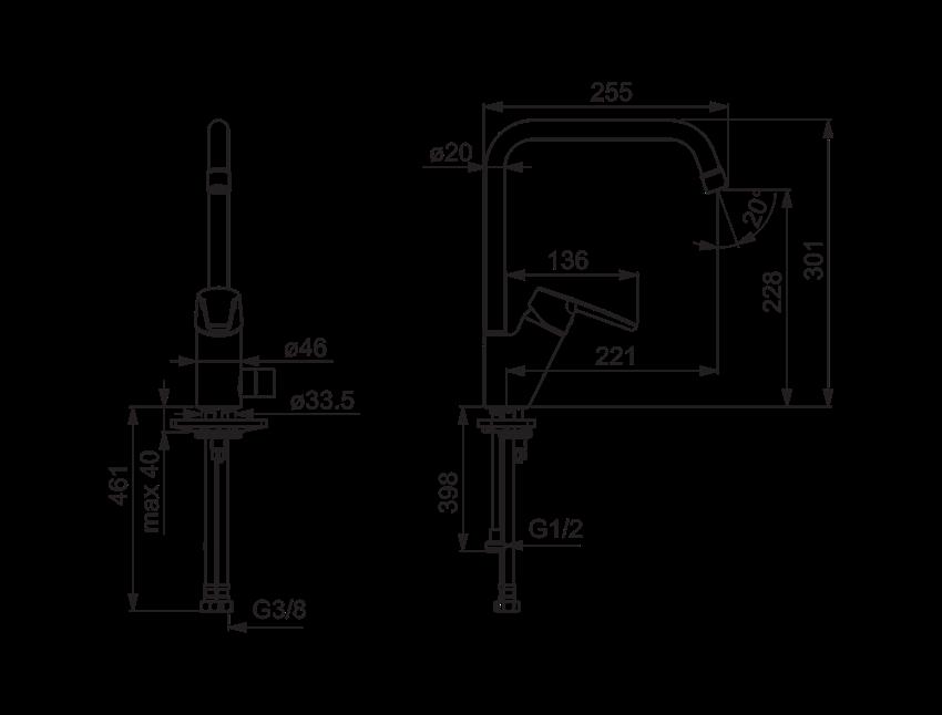 Bateria kuchenna z zaworem do zmywarki Oras Saga rysunek techniczny