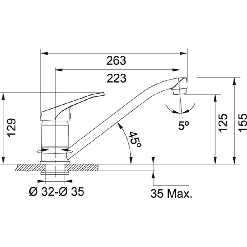 Jednouchwytowa bateria kuchenna Franke Garo rysunek techniczny
