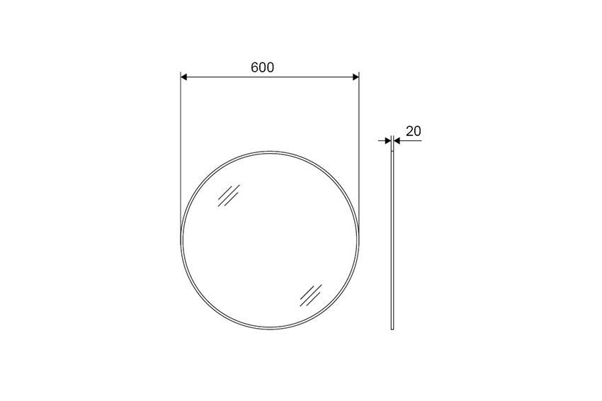 Lustro okrągłe 60 cm Excellent Virro rysunek