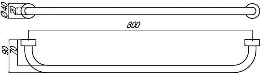 Wieszak na ręcznik 80 cm Emco Rondo2  rysunek techniczny