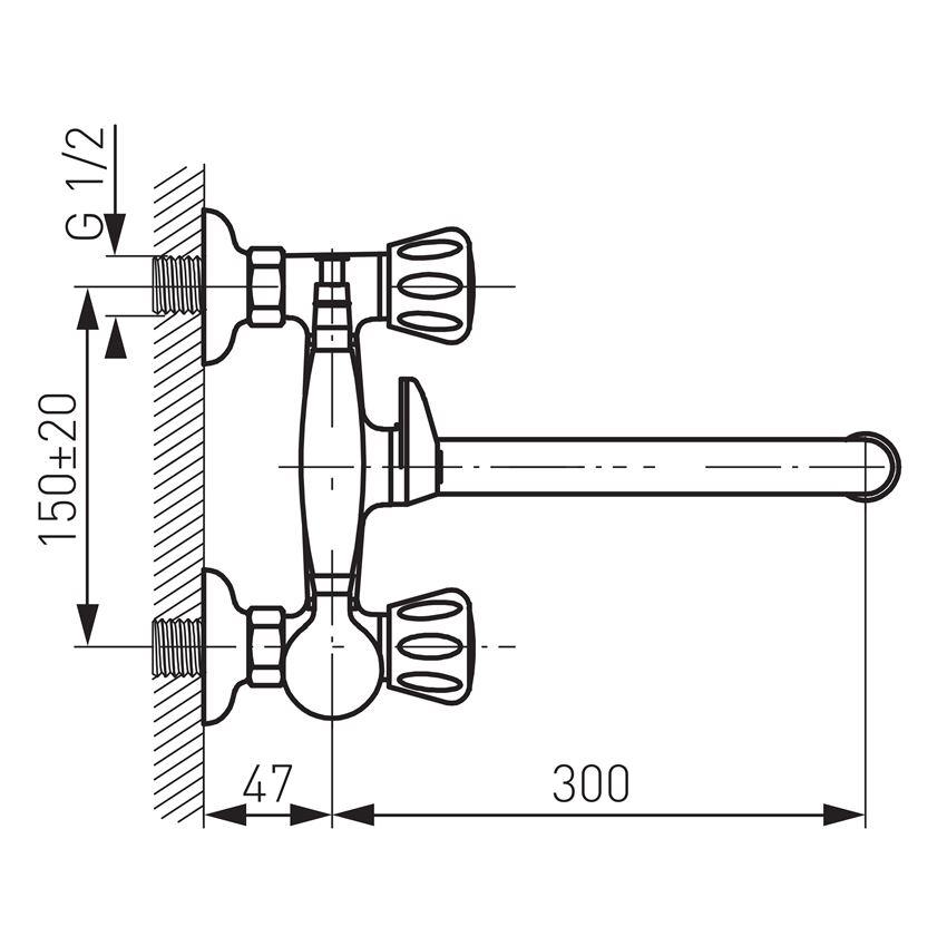 Bateria wannowa z ruchomą wylewką Ferro Standard rysunek techniczny