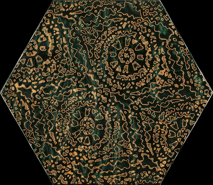 Dekoracja ścienna 17,1x19,8 cm Paradyż Urban Colours Green Inserto Szklane Heksagon A
