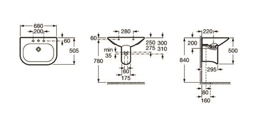 Półpostument 17x29x34 cm Roca Nexo rysunek techniczny