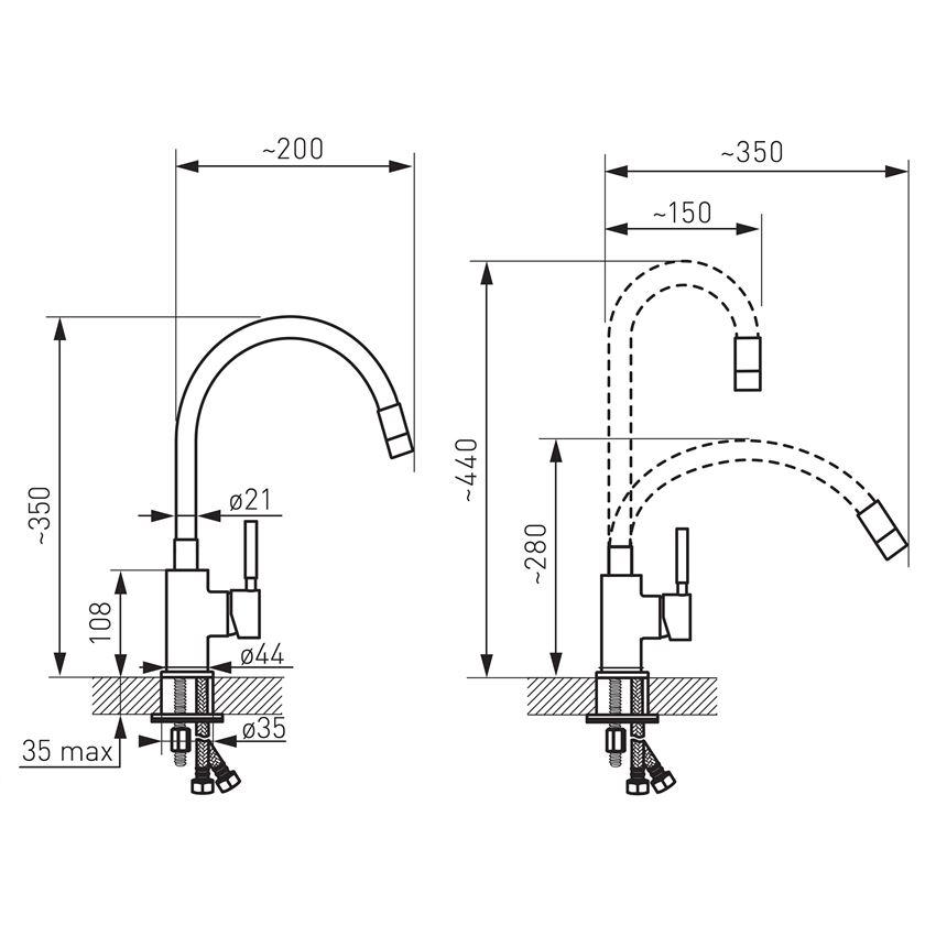 Jednouchwytowa bateria kuchenna Ferro Zumba rysunek techniczny