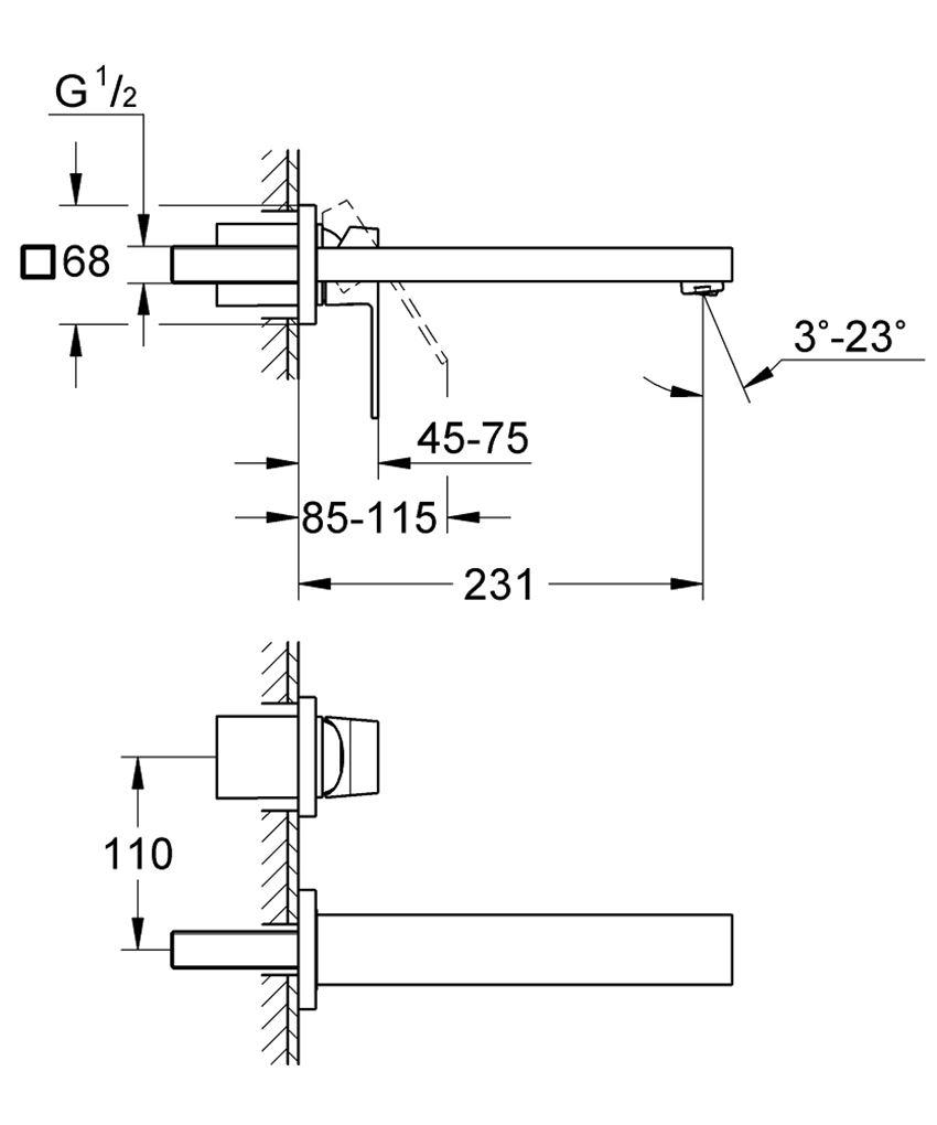 2-otworowa bateria umywalkowa bez elementów do zabudowy podtynkowej Grohe Eurocube rysunek techniczny