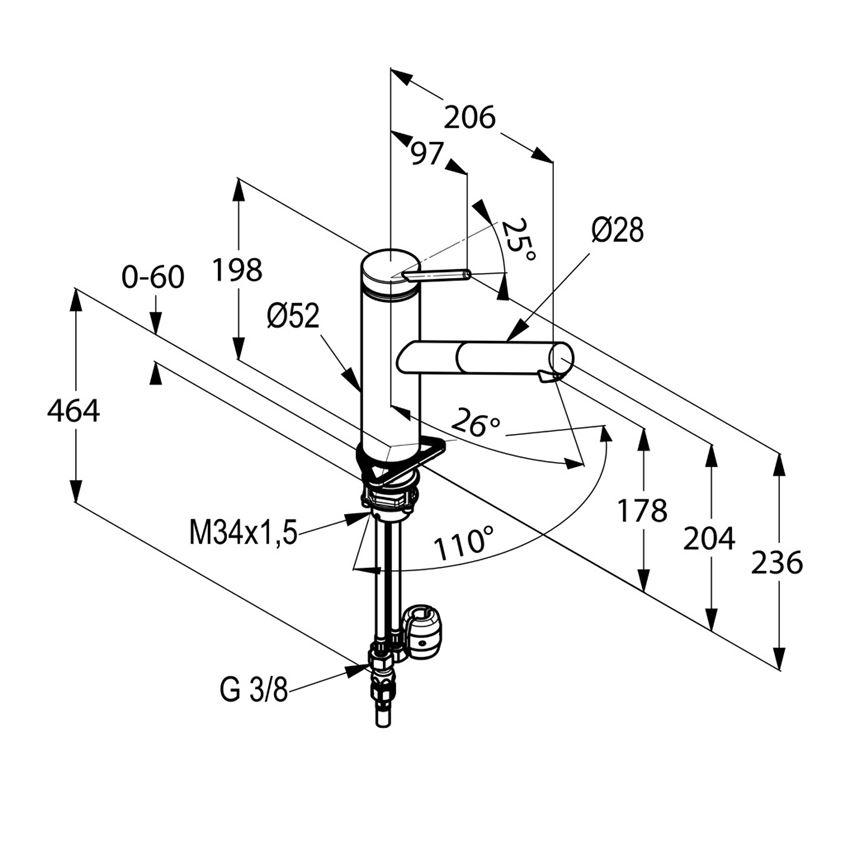 Jednouchwytowa bateria kuchenna z wyciągana wylewką Kludi Tangenta rysunek techniczny