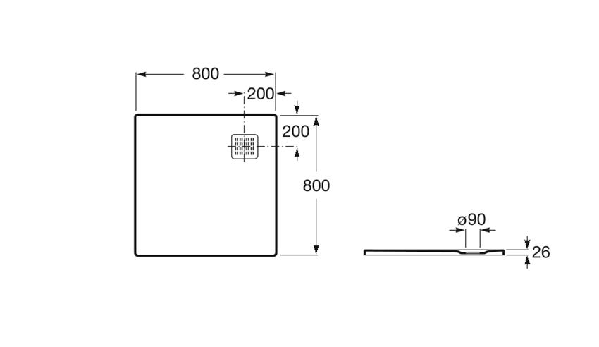 Brodzik kompozytowy STONEX 80x80x2,6 cm szary łupek Roca Terran