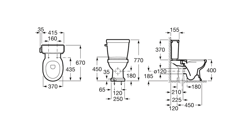 Miska WC Rimless do kompaktu Roca Carmen rysunek