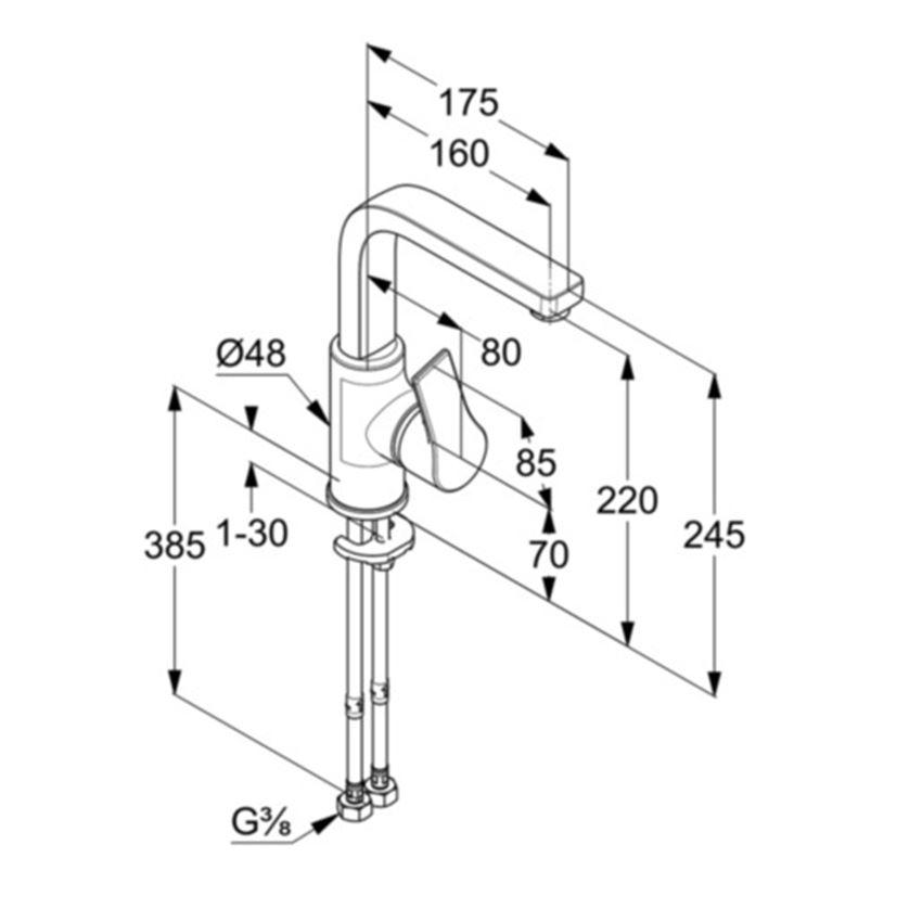 Jednouchwytowa bateria umywalkowa 24,5 cm Kludi Zenta SL rysunek techniczny