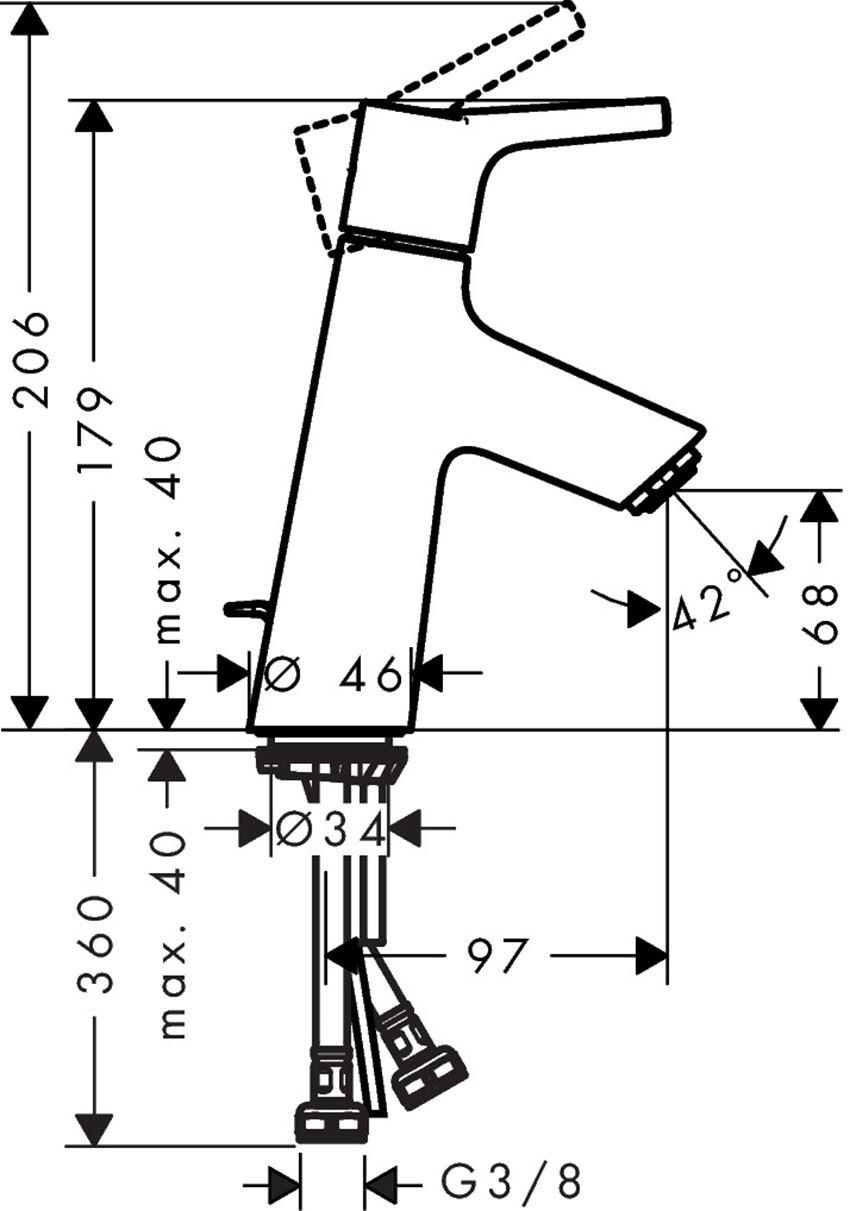 Jednouchwytowa bateria umywalkowa 80 z cięgłem Hansgrohe Talis S rysunek techniczny