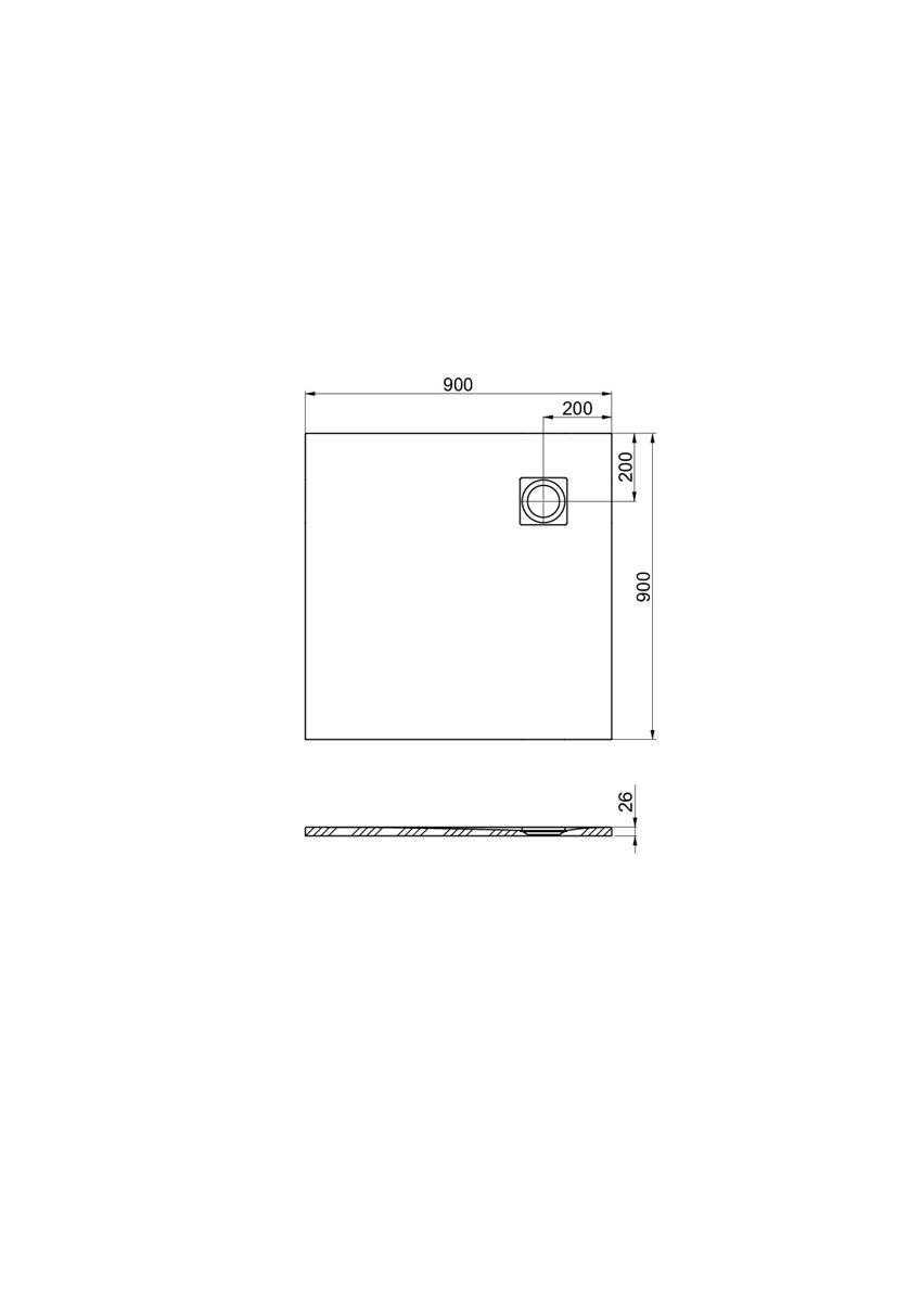 Brodzik kompozytowy 90x90x2,6 cm Roca Ignis rysunek techniczny