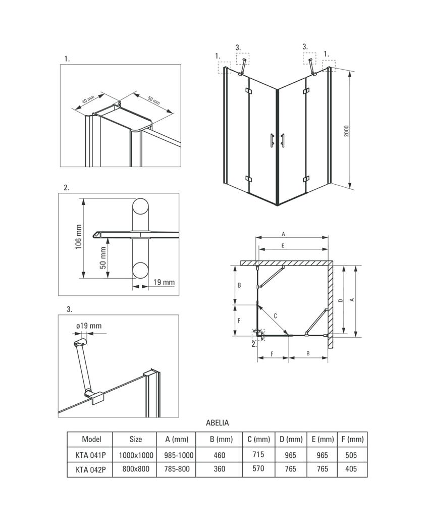 Kabina kwadratowa Deante Abelia rysunek techniczny