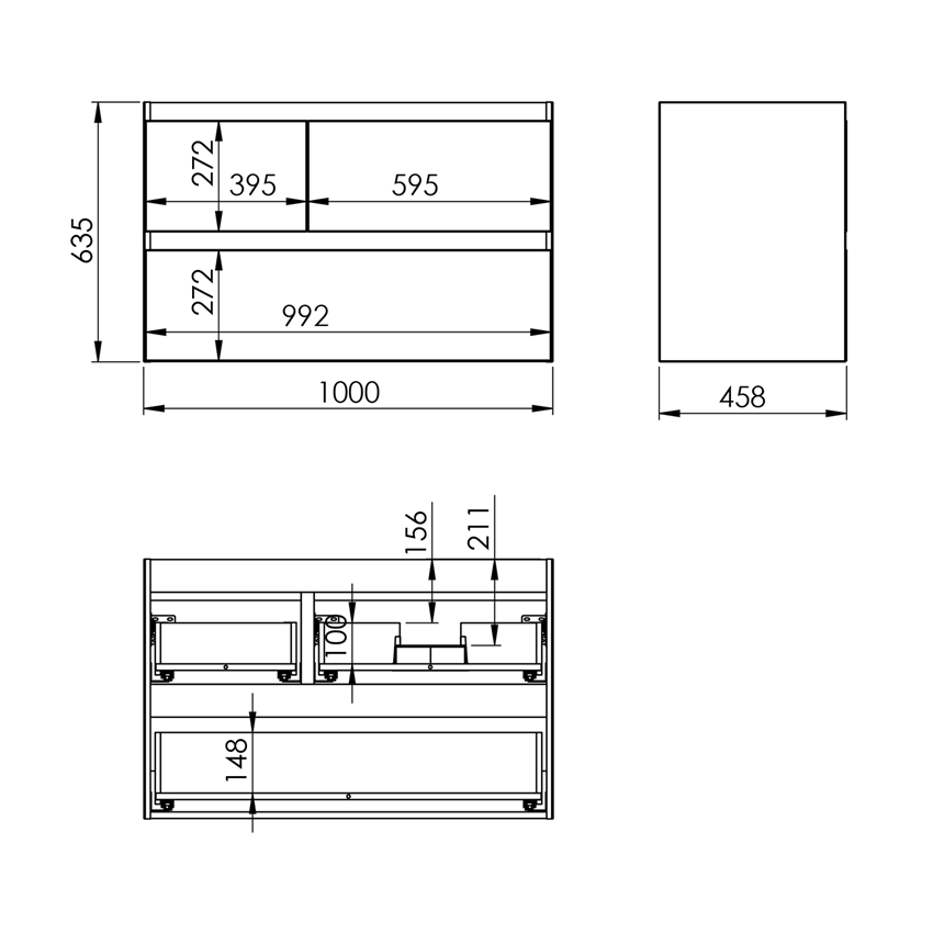 Szafka podumywalkowa 100 cm Elita Split 100 3S P rysunek
