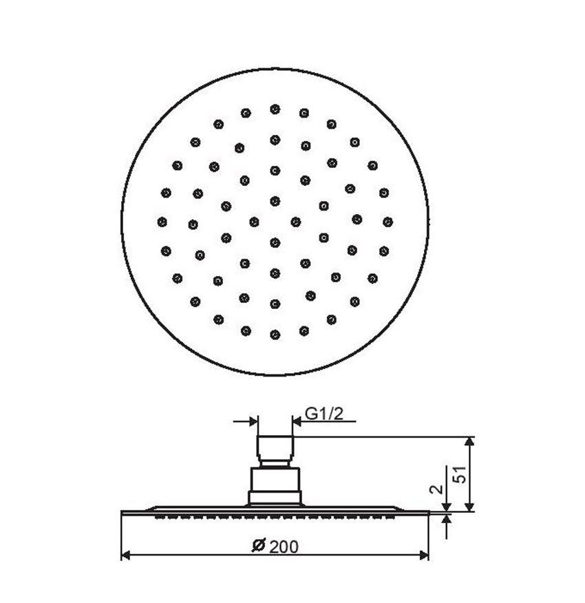 Głowica prysznicowa 20 cm Excellent Regular rysunek techniczny