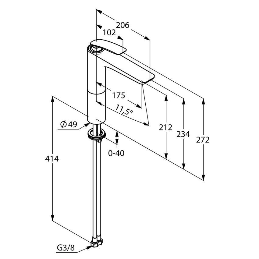 Jednouchwytowa bateria umywalkowa 27,2 cm Kludi Balance rysunek techniczny