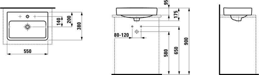 Umywalka nablatowa z półką na baterię 55 cm Laufen Pro S rysunek
