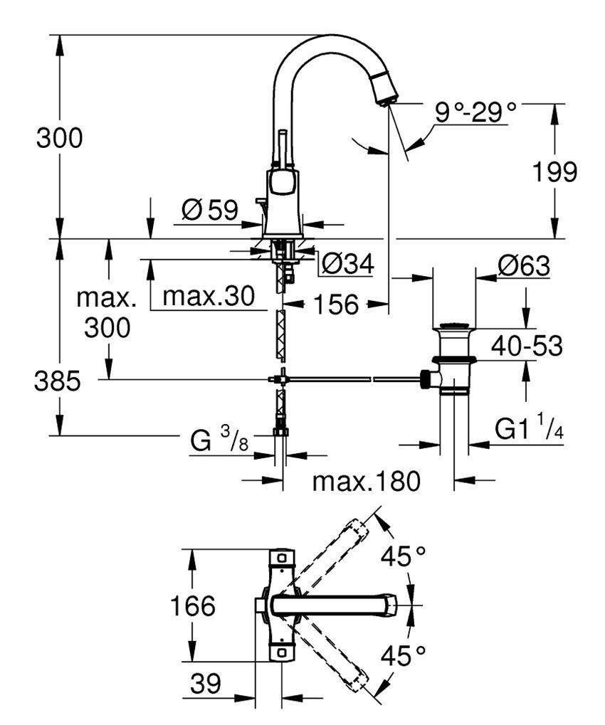 Bateria umywalkowa rozmiar L Grohe Grandera rysunek techniczny