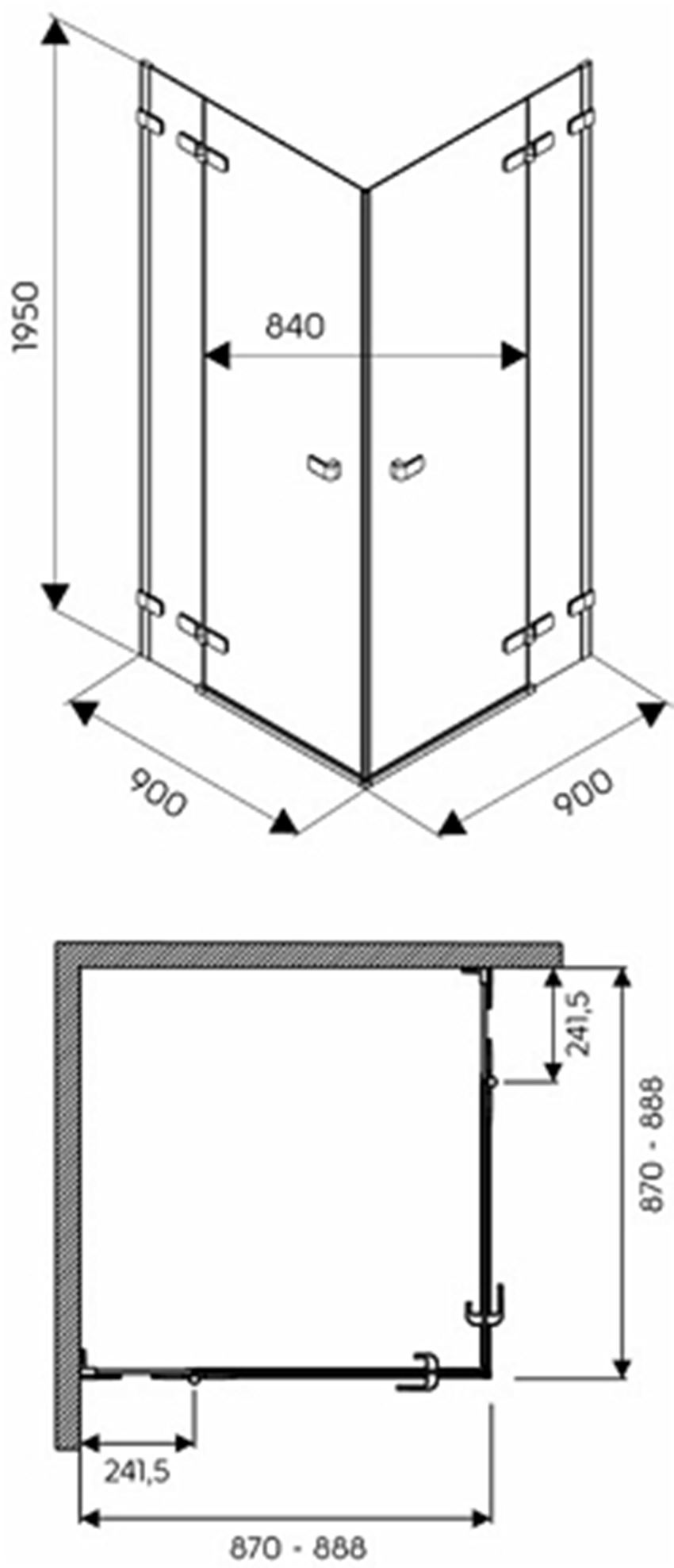 Kabina kwadratowa 90 drzwi skrzydlowe Koło Next rysunek techniczny