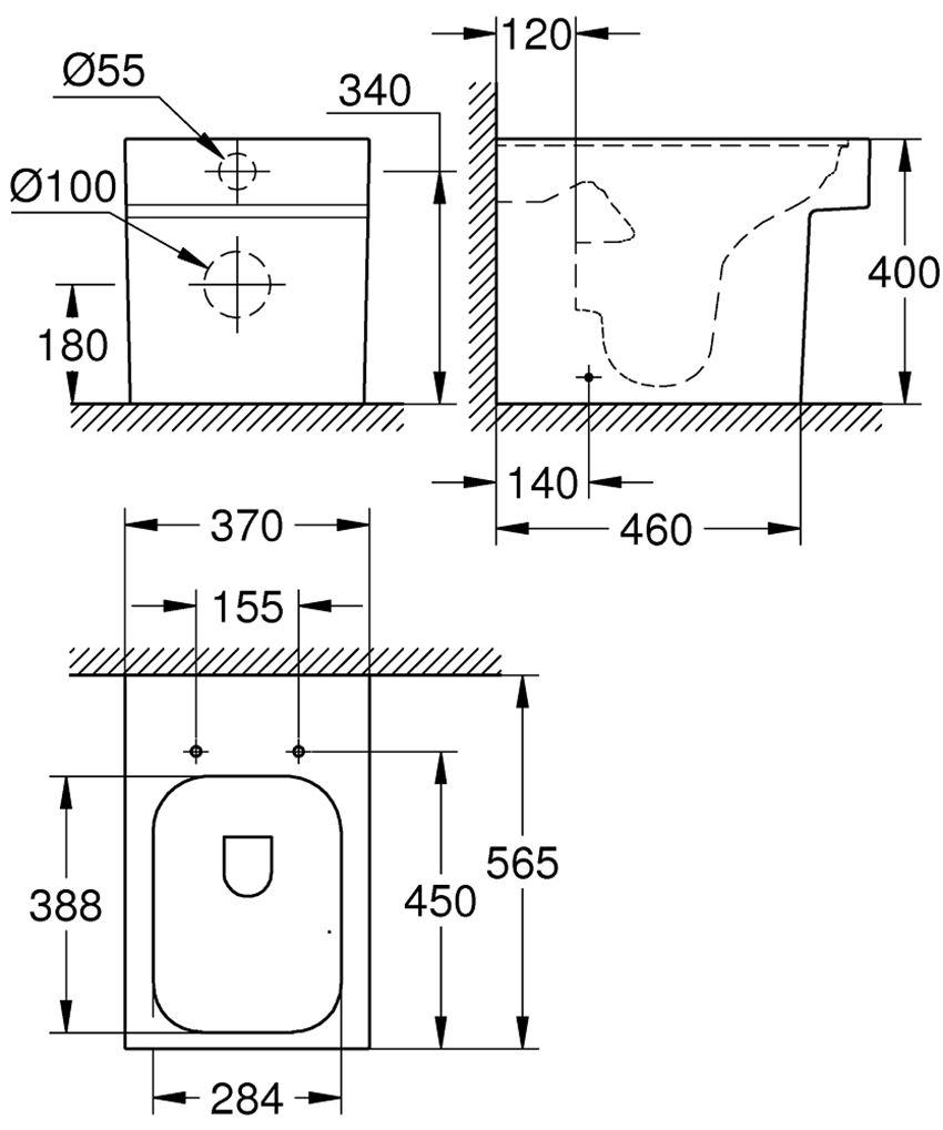 Miska WC stojąca Grohe Cube Ceramic rysunek techniczny