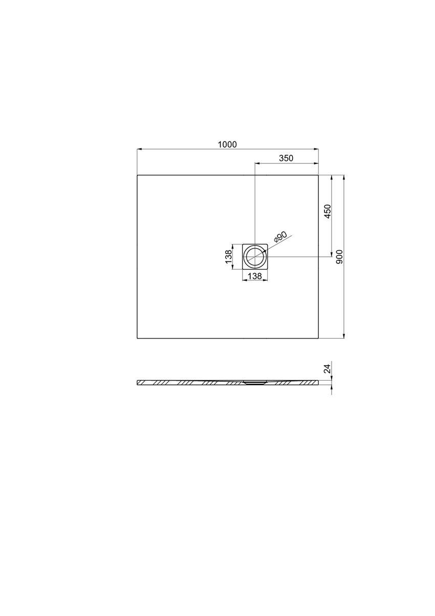 Brodzik kompozytowy 100x90x2,4 cm Roca Ignis rysunek techniczny